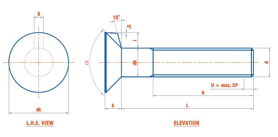 DIN 604 - Flat Countersunk Nib Bolts With Hexagon Nut - Steel