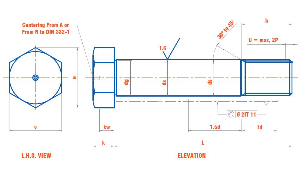DIN 610 - Hexagon Fit Bolt with Short Threaded Portion (Metric Thread)