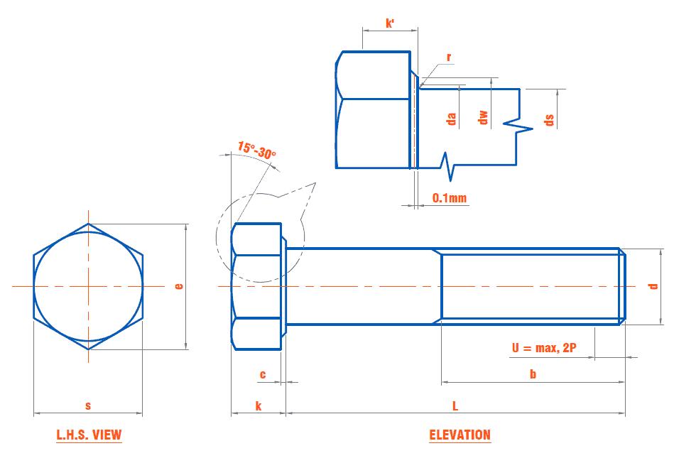 DIN 960 - Hexagon Head Cap Screw (Metric Fine Pitch Thread / Fine Thread) (ISO 8765 / EN 28765)